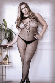 Adore You Catsuit Met Halternek - Curvy - Sheer Fantasy | PleasureToys.nl