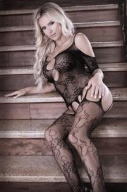 Aphrodite Cold Shoulder Jarretel Catsuit - Sheer Fantasy | PleasureToys.nl