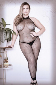 Feelin' Myself Catsuit Met Halternek - Curvy - Sheer Fantasy | PleasureToys.nl