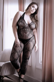 Good As Hell Catsuit Met Open Kruisje - Curvy - Sheer Fantasy | PleasureToys.nl