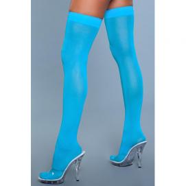 Hoge Nylon Kousen - Turquoise - Be Wicked   PleasureToys.nl