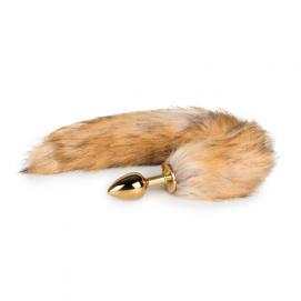 Kleine goudkleurige buttplug met vossenstaart - Easytoys Fetish Collection   PleasureToys.nl