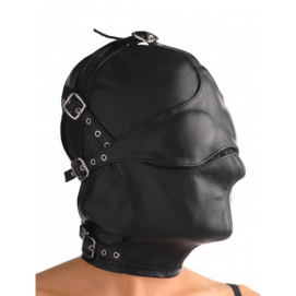 Lederen kap met afneembare blinddoek en snuit - Strict Leather | PleasureToys.nl