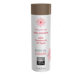 Luxe Eetbare Body Oil - Aardbei & Rode Peper - Shiatsu | PleasureToys.nl