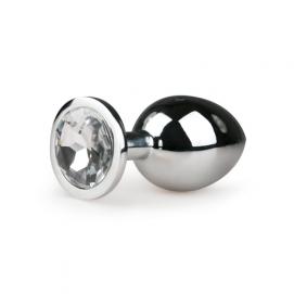 Metalen buttplug met transparante diamant - zilverkleurig - Easytoys Anal Collection | PleasureToys.nl