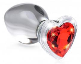 Red Heart Anaalplug Van Glas Met Steentje - Medium - Booty Sparks | PleasureToys.nl