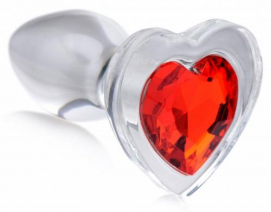 Red Heart Anaalplug Van Glas Met Steentje - Small - Booty Sparks   PleasureToys.nl