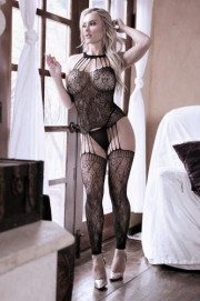 Treasure Catsuit Met Jarretellook - Sheer Fantasy | PleasureToys.nl