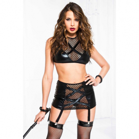 Wetlook Jarretel Set Met Visnet - Music Legs | PleasureToys.nl